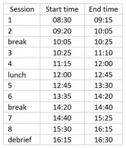 SDAW session times